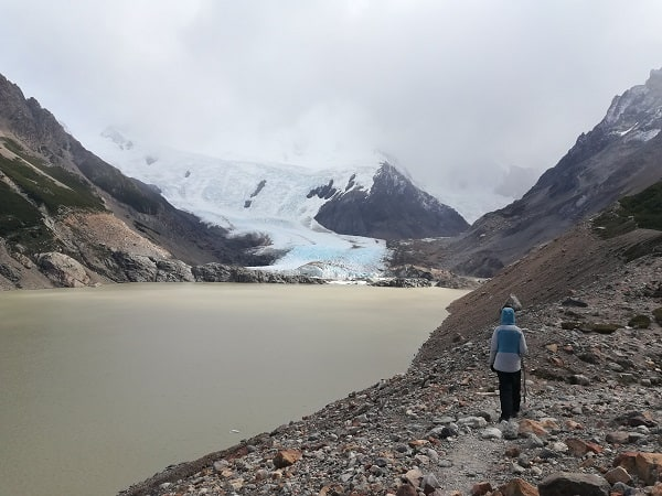 A lake at the base of a glacier.