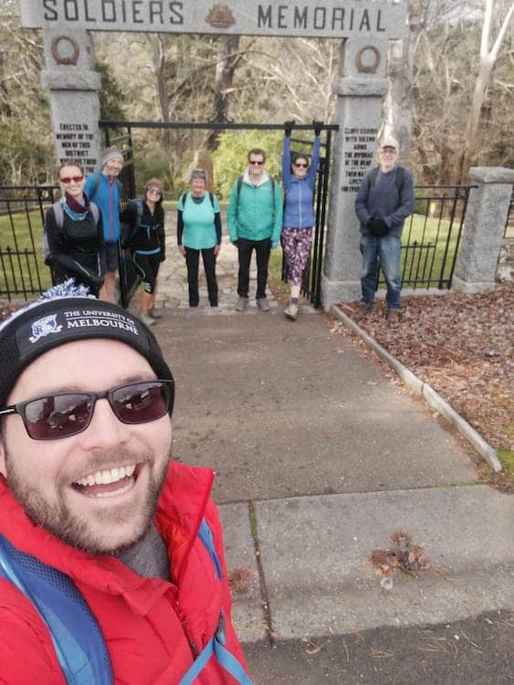 The hiking team standing at the entrance to the Hepburn Springs park, under the Soldiers Memorial.